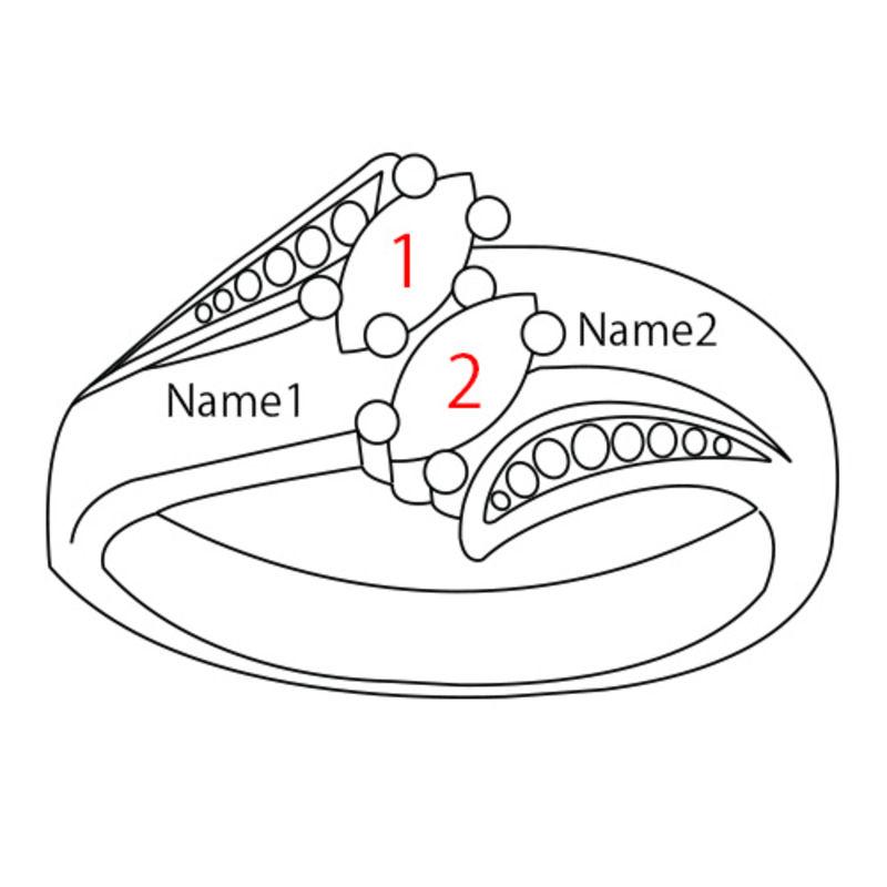 Personlig forgylt ring med månedssteiner - 4