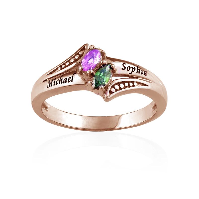Personlig roseforgylt ring med månedssteiner - 1