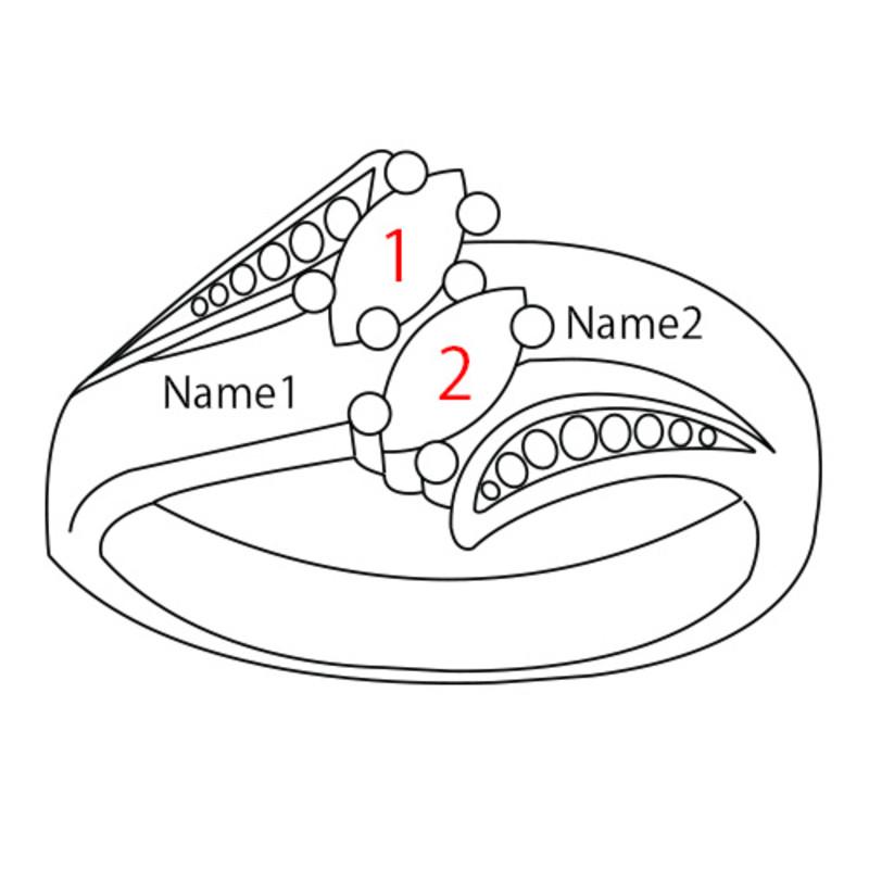 Personlig roseforgylt ring med månedssteiner - 4