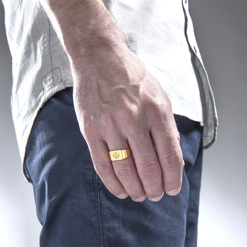 Inngravert signetring til menn i forgylt gull med monogram - 2