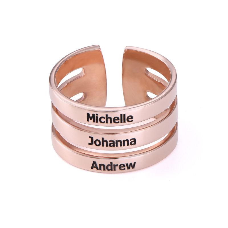 Tre ringer med navn i rosegullbelegg - 1