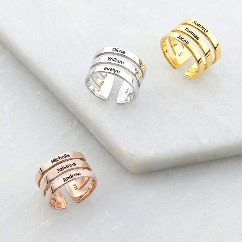 Tre ringer med navn i rosegullbelegg - 2