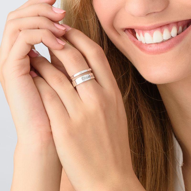 Asymmetrisk navne ring i sølv - 3
