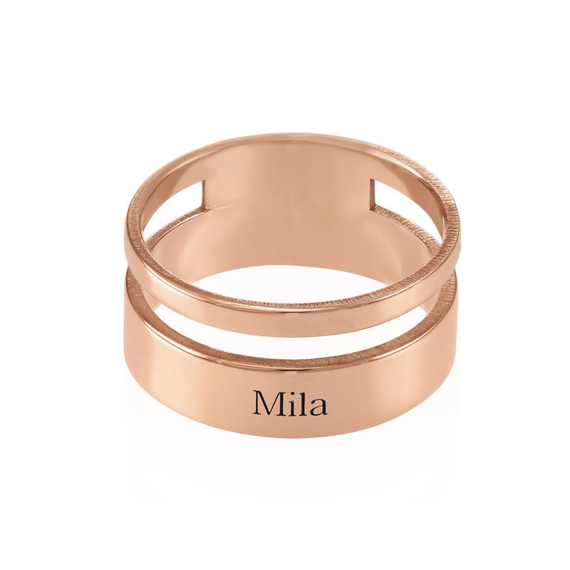 Roseforgylt asymmetrisk navne ring - 1