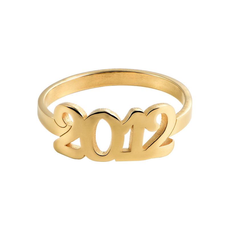 Personlig ring med gravering og tall i 18K gullbelegg - 1