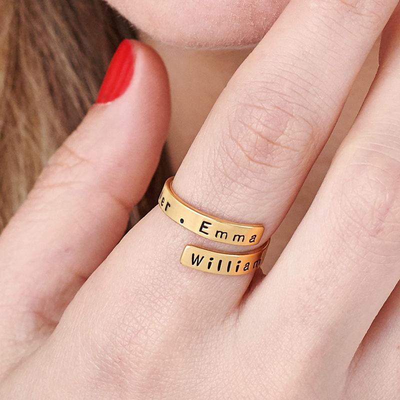 Gravert ring wrap med gullbelegg - 5