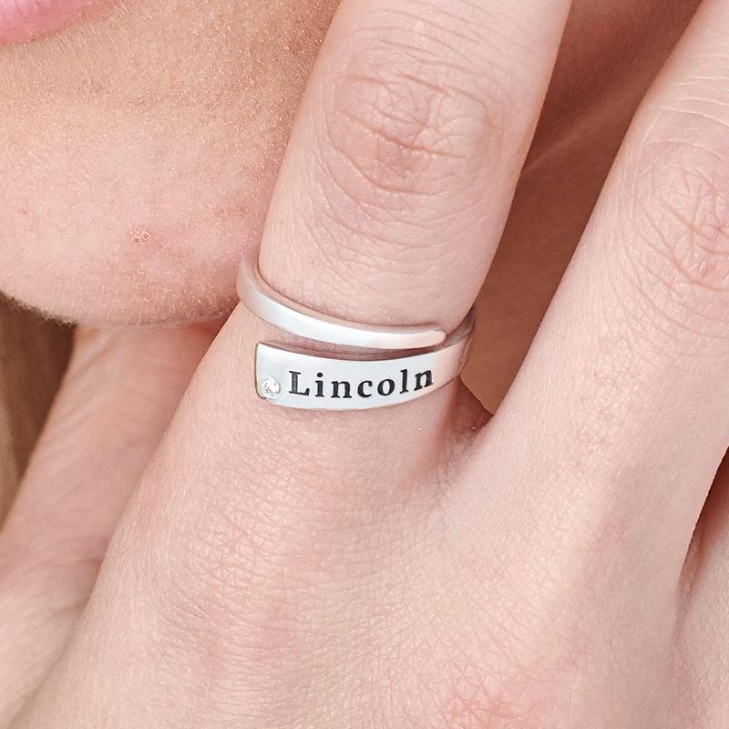 Tilpasset ring wrap med navn og cubic zirconia i sølv - 3