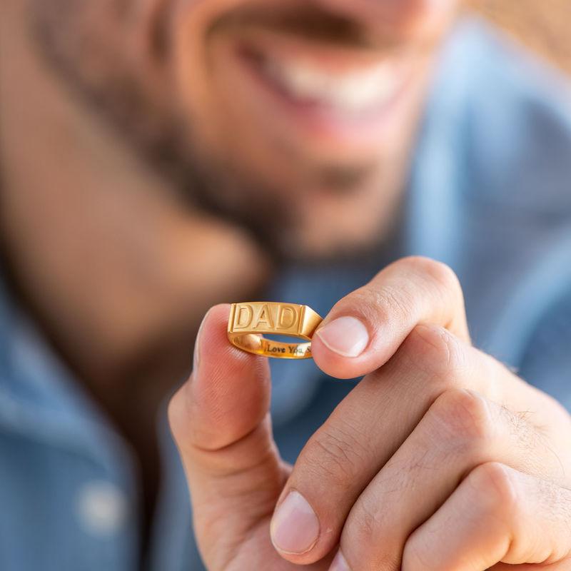 Pappa ring med gravering på innsiden i gullforgylt - 4