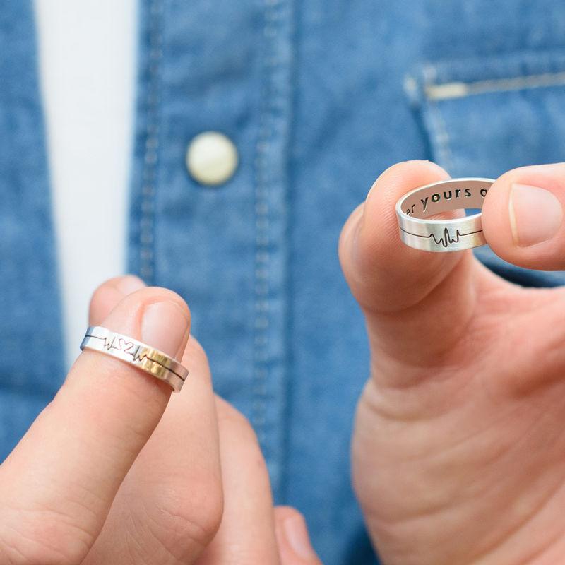 Heartbeat par ringer i sølv - 5