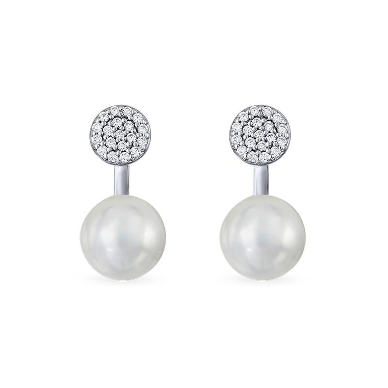 Perleøredobber i Sølv med cubik zirkonia - 1