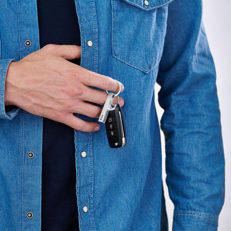 Personlig 3D-stav nøkkelring til menn i Rustfritt stål - 1