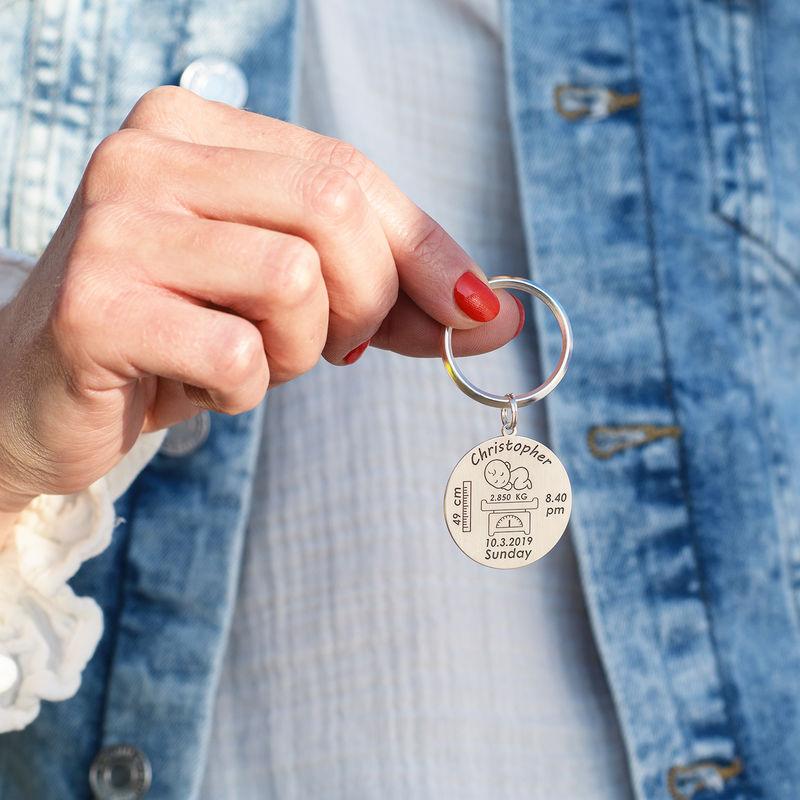 Personlig baby nøkkelring med gravering i sølv - 1