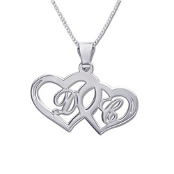 Hjertesmykke med bokstaver i sølv produktbilde