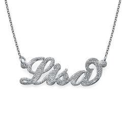 Carrie-style navnesmykke med diamanteffekt produktbilde