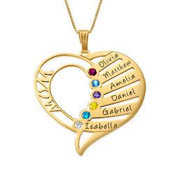 Hjerteformet månedssteinsmykke til mamma i 14K gull product photo