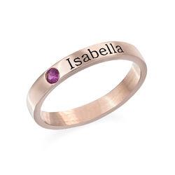 Roseforgylt stable ring med Swarovski stein og gravering product photo