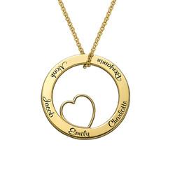 Familie-halskjede med sirkler i gullbelegg produktbilde