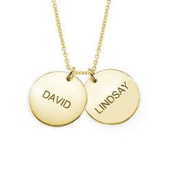 Personlig halssmykke med gullbelagte sølvplater produktbilde