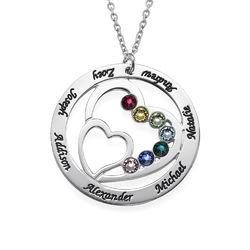 Hjerte i hjertet månedstein halskjede for mødre produktbilde