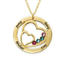 Gullforgylt Hjerte i hjertet månedstein halskjede produktbilde