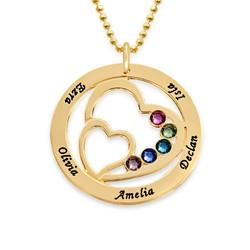 Hjerte i hjertet månedstein halskjede for mødre - 10K gull produktbilde