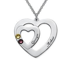 Lite hjerte i hjerte smykke med månedssteiner produktbilde