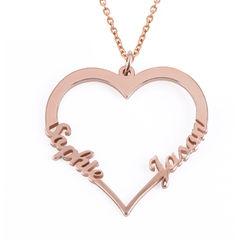 Hjerte smykke med navne i roseforgylt sølv produktbilde