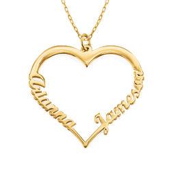Hjerte smykke med navn i 10 karat gull produktbilde