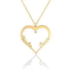 Diamant hjerte smykke i 18k gullbelegg - Yours Truly-kolleksjonen produktbilde