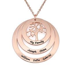 Rundt familie smykke med livets træ i rosaforgyldt sølv produktbilde