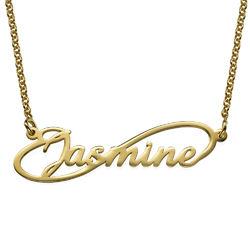Infinity-navnesmykke med gullbelegg produktbilde