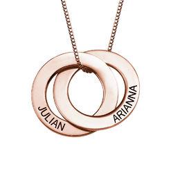 Russisk ring-halskjede med 2 ringer i rosegullbelegg produktbilde