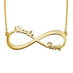 Infinity-navnesmykke med diamant i gullbelegg product photo