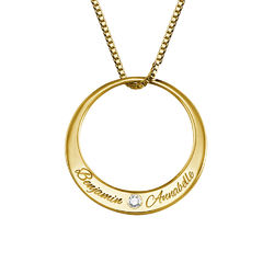Rundt halskjede med diamant i gullbelegg produktbilde