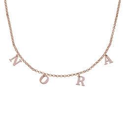 Choker-smykke med bokstav i 18K rosegullbelegg produktbilde
