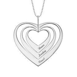 Familie hjertesmykke i hvitt gull produktbilde