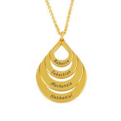 Familie smykke med gravering i gullbelegg - fire dråper product photo