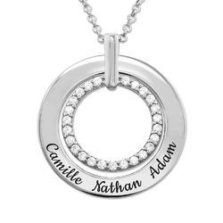 Gravert smykke med sirkel i sølv product photo