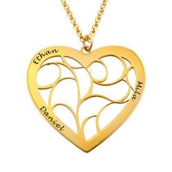 Livets tre smykke med hjerte i gullforgylt sølv product photo