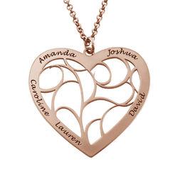 Livets tre smykke med hjerte i roseforgylt sølv produktbilde