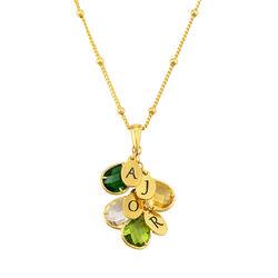 Tilpasset gullbelagt månedsstein smykke med dråpe for mamma product photo