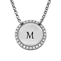 Personlig rundt cubic zirconia-smykke i sølv product photo