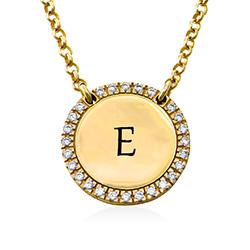 Personlig rundt gullbelagt cubic zirconia-smykke product photo