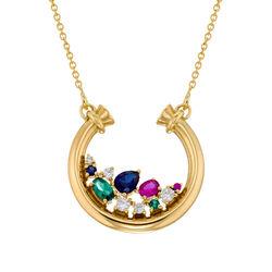 Smykke med halv sirkel med steiner med gullbelegg produktbilde