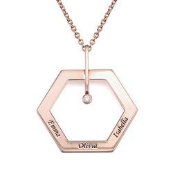 Personlig gravert hexagon smykke med diamant i rosegullbelegg produktbilde