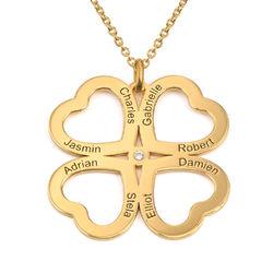 Firkløver halskjede i hjerteform med diamant i gullbelegg produktbilde