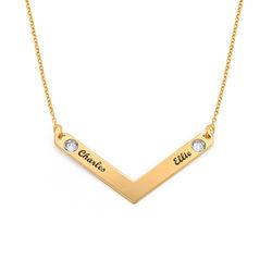 Personlig mamma smykke med Swarovski i gullforgylt product photo