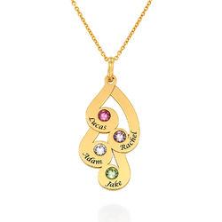 Familie månestein smykke halskjed med gravring gullbelagt produktbilde