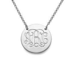 Smykke med bokstavanheng i monogramstil i sølv produktbilde