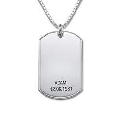 Halssmykke i sølv med personlig dog tag produktbilde
